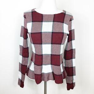 Ann Taylor Peplum Plaid Long Sleeve Blouse sz. XS